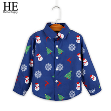 HE Hello Enjoy Boys Shirts Christmas Toddler T-Shirt Blue Print Long Sleeve Blouse Kids For Children Tops 2-6Y Clothes