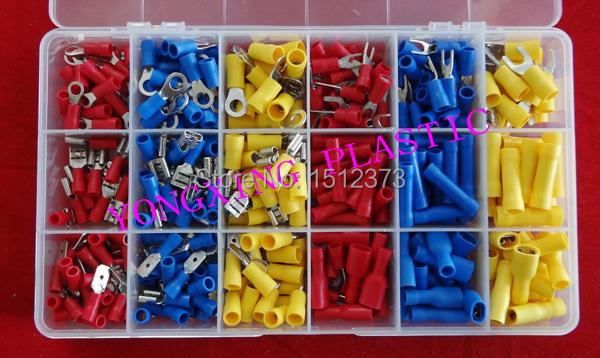 405PCS/box crimp connector insulated terminal block kit  wire cable ferrules from 22-10AWG  18 size 3 Color 800pcs cable bootlace copper ferrules kit set wire electrical crimp connector insulated cord pin end terminal hand repair kit