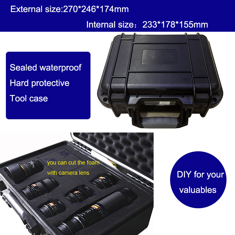 Tool Case Toolbox Impact Resistant Sealed Waterproof Equipment Safety Case 233*178*155 MM Camera Suitcase With Pre-cut Foam