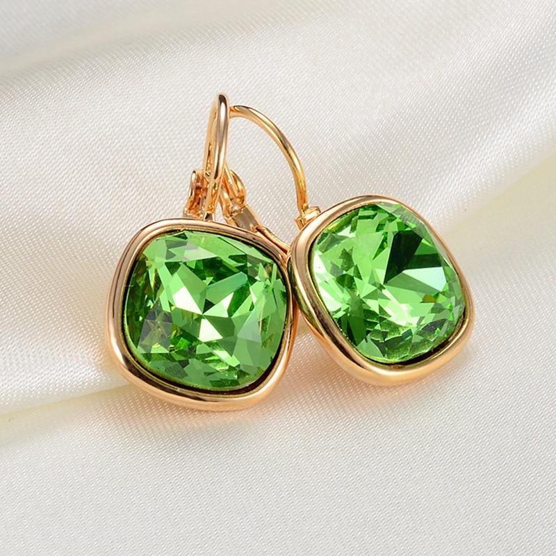 Fashion Austrian Crystal Gold Square Earrings For Women 2016 Popular Rhinestone Stud Earrings Jewelry female brincos