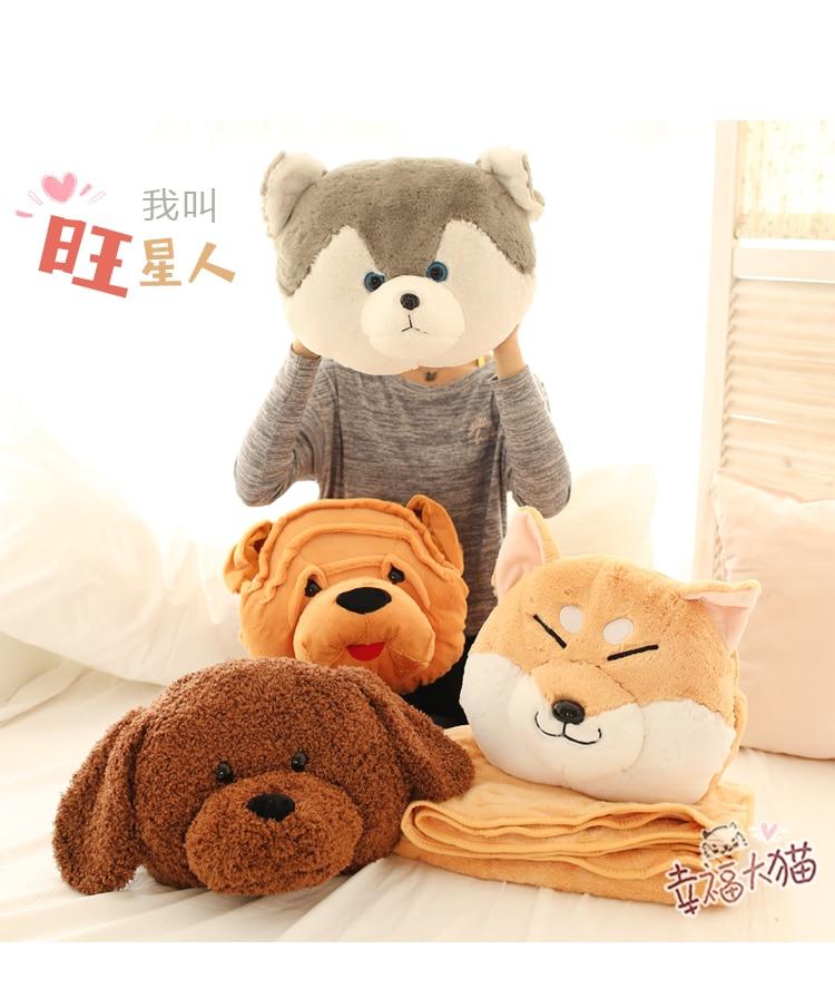 Peluche 1 pc 170 cm doux Shiba Inu Husky teddy chien reste bureau coussin + couverture main plus chaud peluche jouet cadeau romantique pour bébé