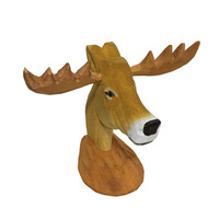 Wooden Glasses Holder Handmade Carved Basswood Deer