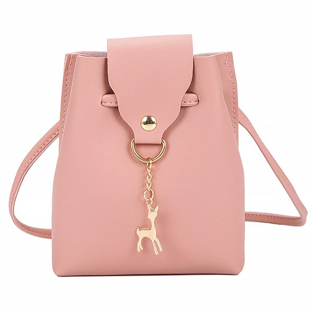 Mini Women Messenger Bags PU Leather Deer Pendant   Designer Female Crossbody Shoulder Bags Ladies Bucket   Bag