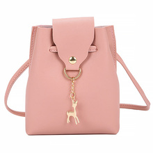 Mini Women Messenger Bags PU Leather Deer Pendant  Designer Female Crossbody Shoulder Ladies Bucket Bag
