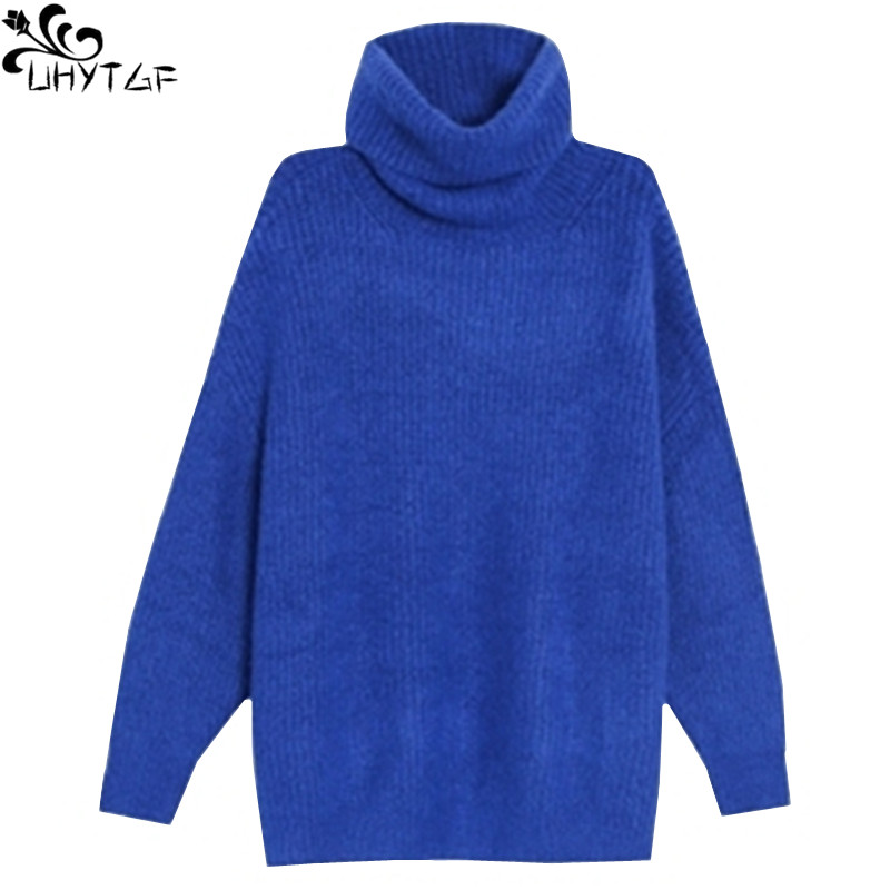 UHYTGF Women's Turtleneck Knitting Sweaters Winter 2018 Autumn Plus size Korean Fashion Loose Sweaters Pullovers Tops Women 370