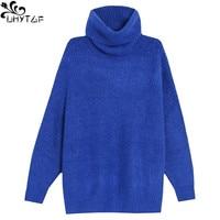 UHYTGF Women's Turtleneck Knitting Sweaters Winter 2018 Autumn Plus size Korean Fashion Loose Sweaters Pullovers Tops Women 370