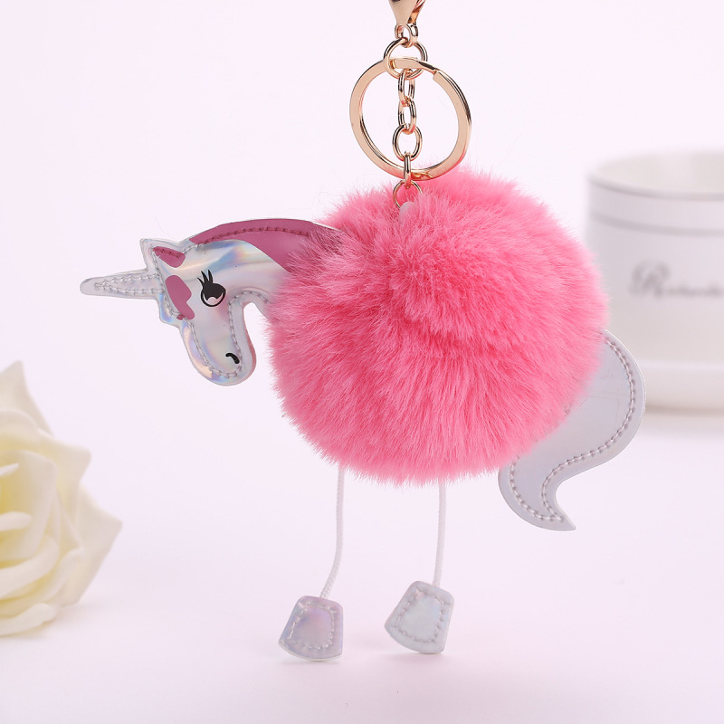 Unicorn pom keychain Artificial pompoms rabbit fur ball pompon key chain women bag car keyring porte clef holder fluffy pom pom pom pom drop earrings
