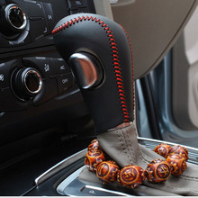 hot deal buy free shipping high quality cowhide top layer leather automatic gear shift collars gear cover for audi a3 a4 a5 a6 a8 q5 q7