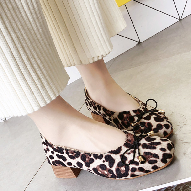 Flats Women Round Toes Slip-On Leopard Flat Heels Shoes Woman Butterfly-Knot Shallow Casual Shoes