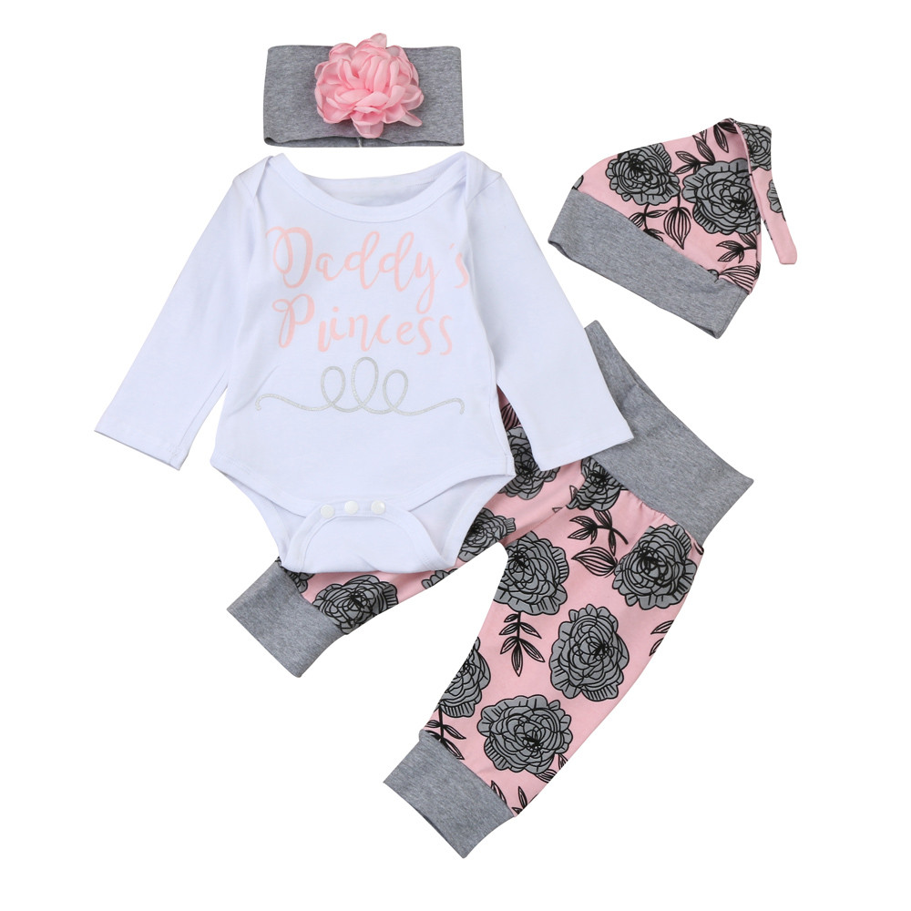MUQGEW Baby Girl Clothing Letter Romper Tops+Floral Pants Hat 4Pcs Newborn Infant Baby Girls Clothes Moleton Infantil Q06 cute newborn infant baby girl clothes set girls romper letter printed bodysuit floral tutu skirted bloomers short outfit sunsuit