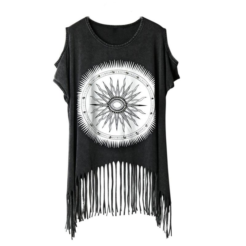PUNK ROCK RIVET zomer nieuwe mode t-shirt off the shoulder tops voor vrouwen kwastje katoenen t-shirt Casual dameskleding