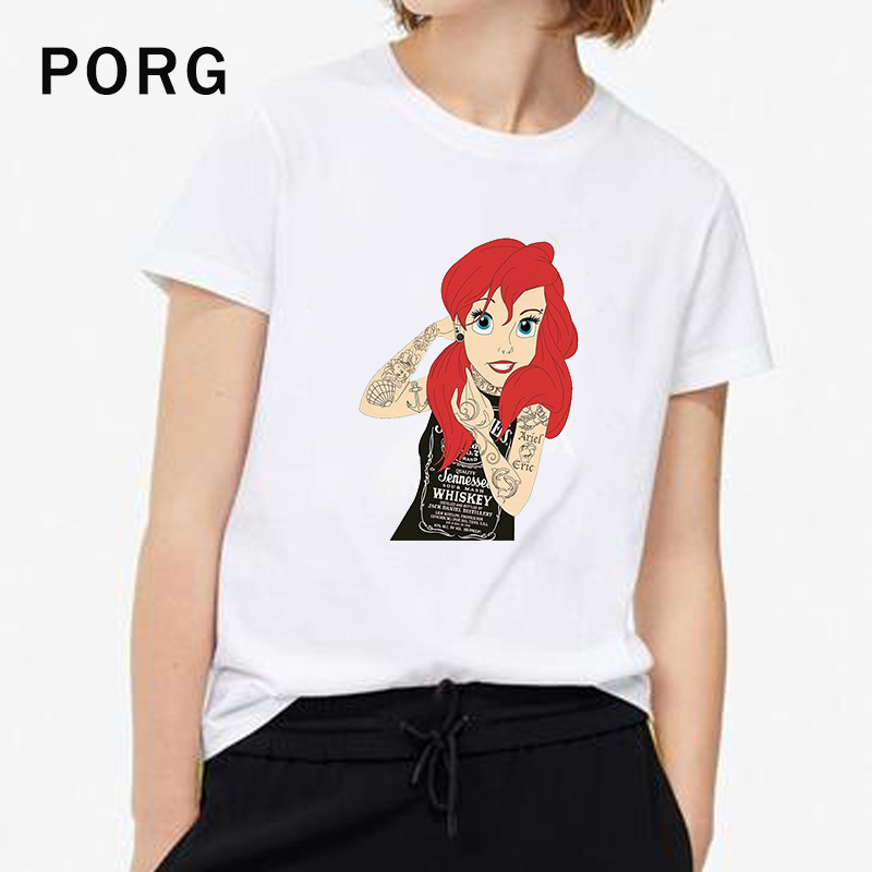Bad Girl Ariel Tshirt Harajuku Ulzzang Women T Shirt Summer Tumblr Hot Tees Kawaii Streetwear Women Camisetas Verano Mujer 2019