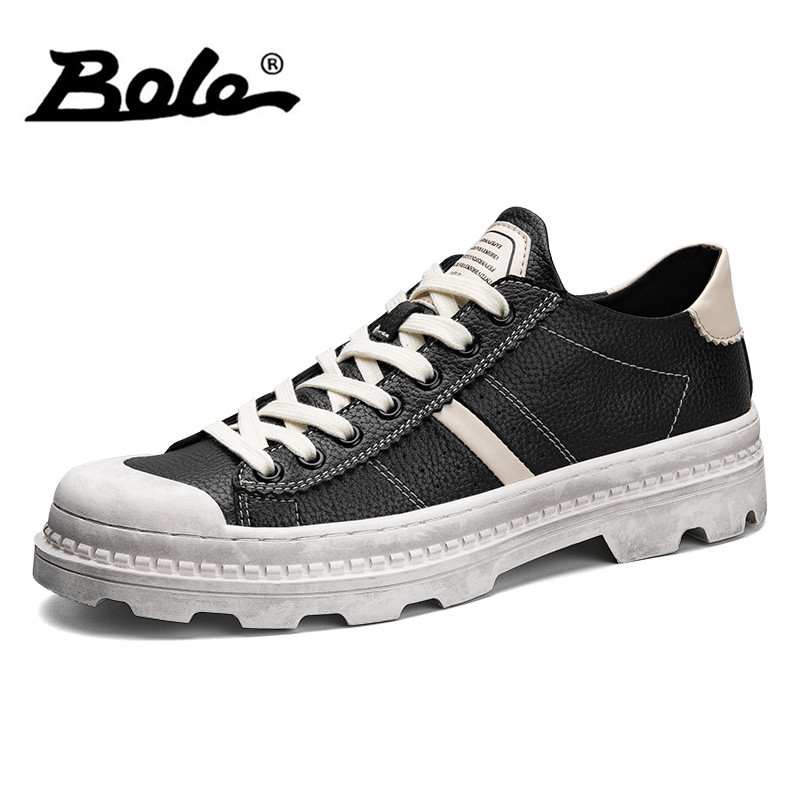 BOLE Men Lace Up Casual Shoes Fashion Round Toe Martin Shoes High Quality Leather Sneakers Men Casual Flats Shoes цены