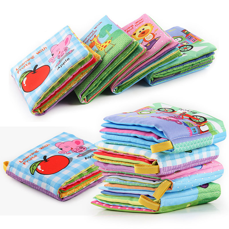 Infant Baby Cloth Books Learning Cognize Book Kids Animals Soft Toys Rustle Sound Rattles For 0-3 Years Child