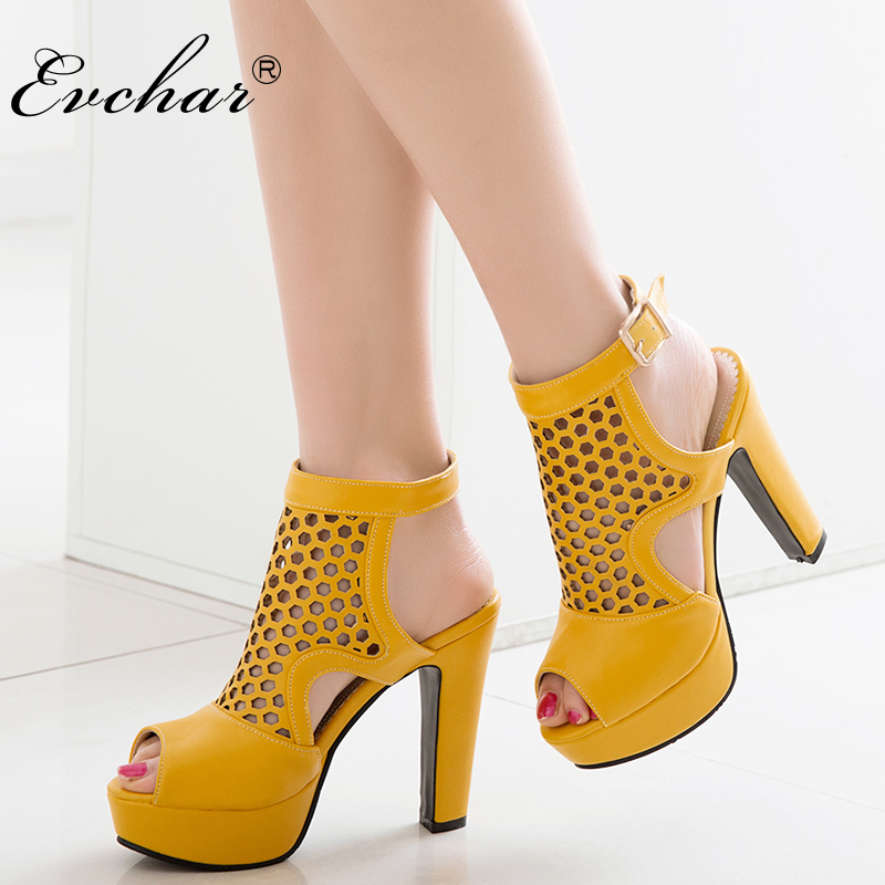 EVCHAR sandals fashion summer  sexy peep toe women's super high heels 4 color platform shoes woman  shoes sandals big size 34-50 cdts 35 45 46 summer zapatos mujer peep toe sandals 15cm thin high heels flowers crystal platform sexy woman shoes wedding pumps