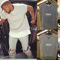 2016 de calidad superior temporada kanye west yeezy hombres de gran tamaño de Algodón de manga Corta camiseta de la camiseta Ocasional Gris color tamaño S-XL