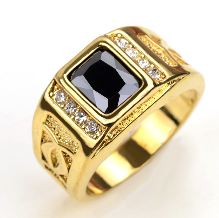 Gold Color Finger Rings For Men Women With Black Stone Cubic