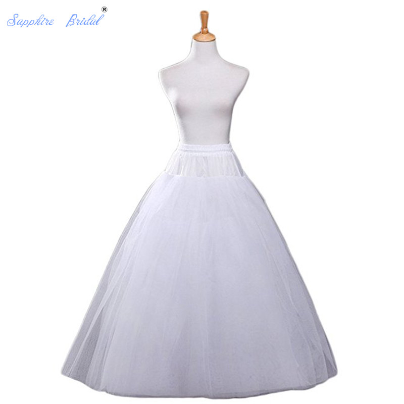 Sapphire Bridal White A-line Wedding Accessories Ball Gown 4 Layers Tulle Hoopless Petticoat Crinoline Skirt Hot Sale
