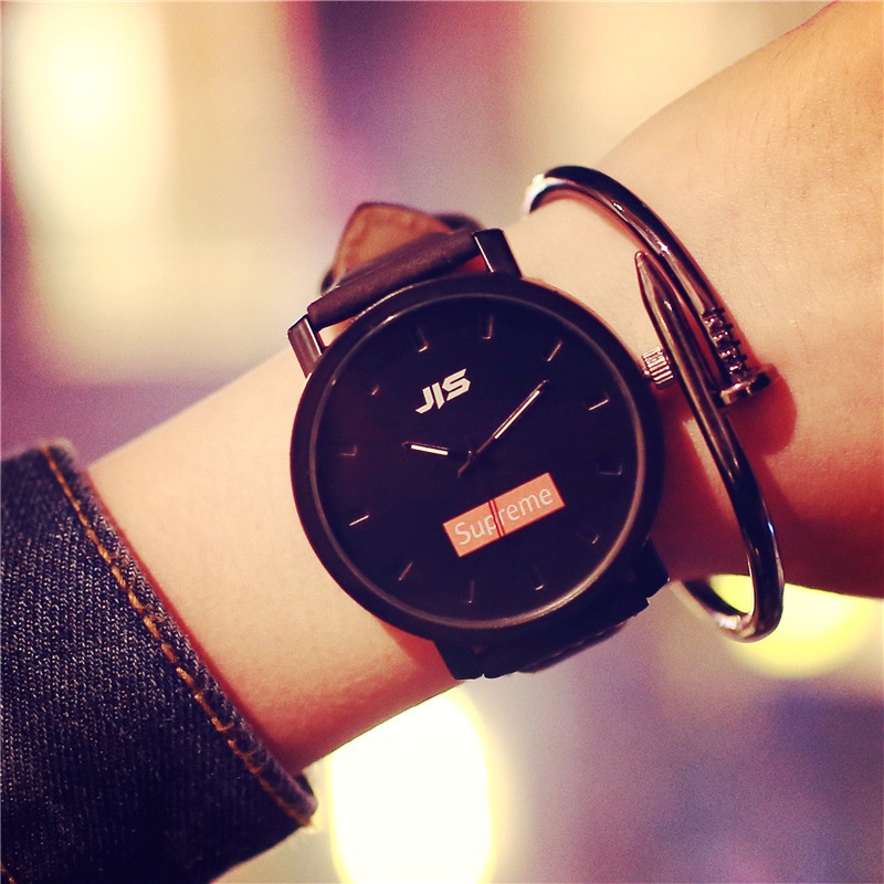 2016 Casual JIS Superme PU Leather Quartz Analog Wrist Watch Wristwatches for Men Women Lovers Black