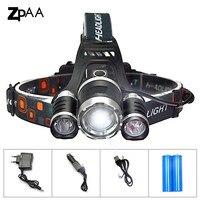 3 CREE XML T6 LED Headlamp Headlight 10000 Lumens Head Lamp Flashlight Chargeable Lantern On The