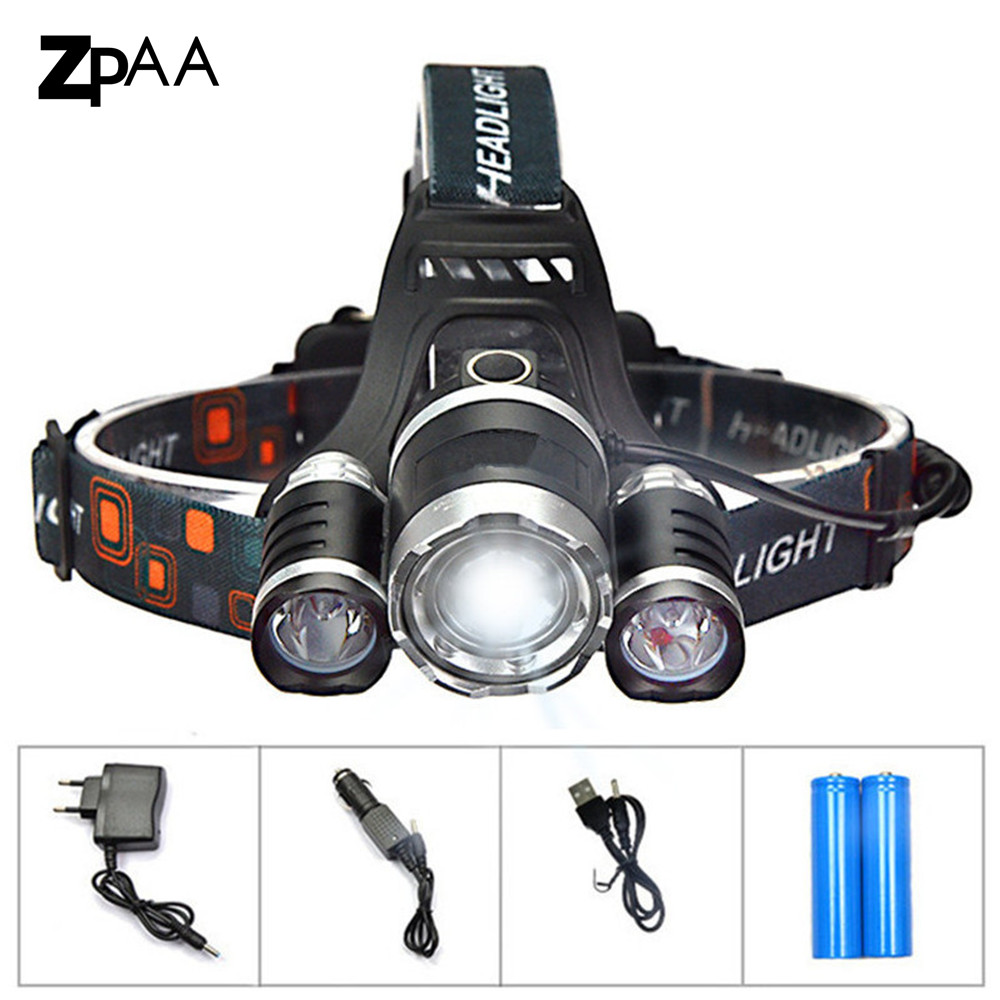 XML T6 LED Headlamp Headlight 13000 lumens  Head Lamp Flashlight Rechargeable Lantern on the Head Emergency Light for Fishing
