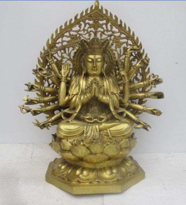 Chinese brass statue of goddess guanyin bodhisattva (quasi goddess of mercy)