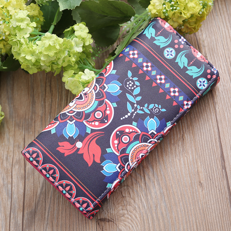 Fashion Multi-function Color Mobile Phone Bag Multi-layer Ladies Long Wallet Big Flower Color Matching Coin Purse
