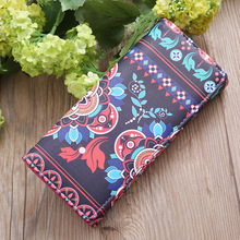 Fashion multi-function color mobile phone bag Multi-layer ladies long wallet big flower matching coin purse