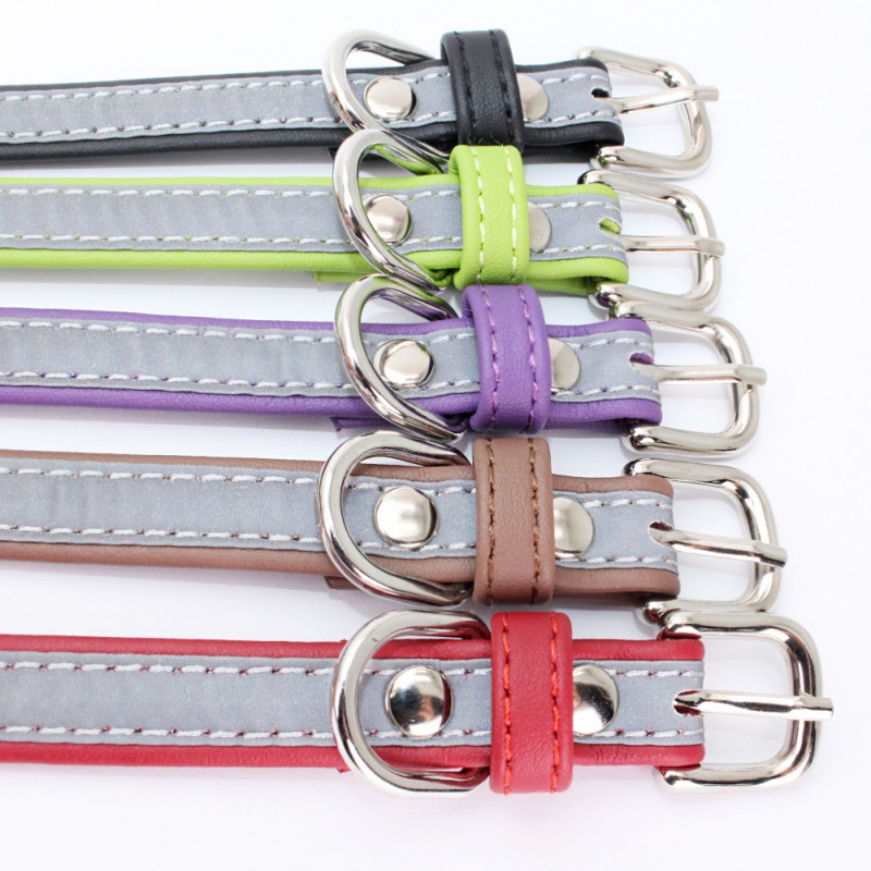 Reflective Night Wear-resistant Soft Microfiber Pet Collar Visual Distance of 800m Security Microfiber Material