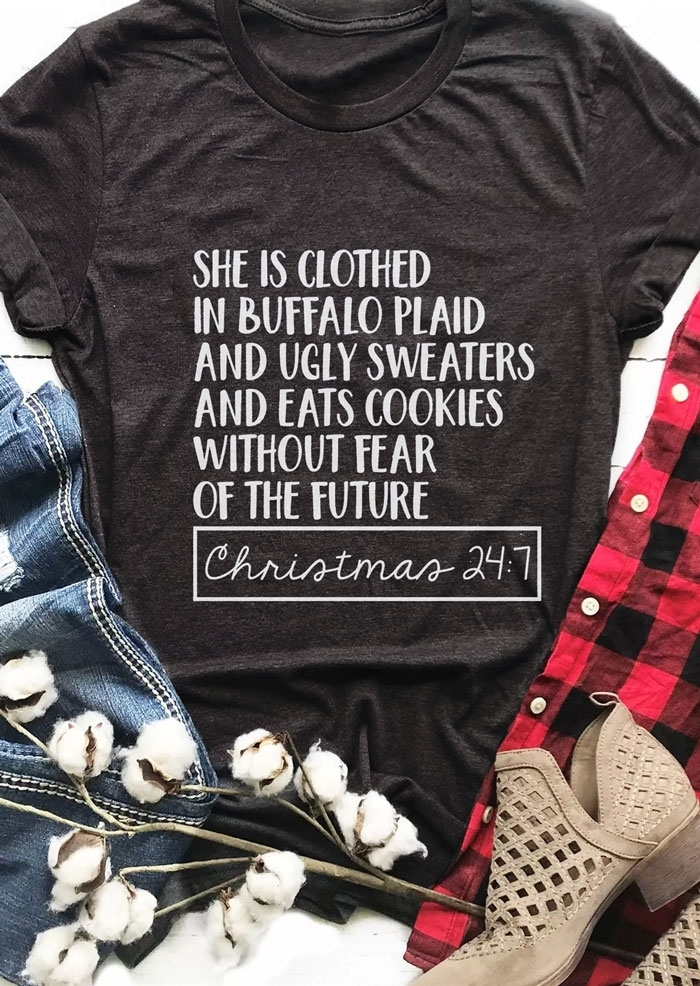 d4997f480a Detail Feedback Questions about She Is Clothed In Buffalo Plaid Ugly  Sweaters Eats Cookies Christmas T Shirt Women funny graphic tshirt tops  tees on ...