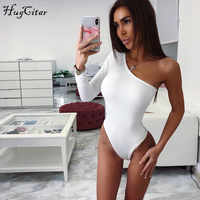 Hugcitar cotone una spalla pendenza scollatura tuta manica lunga singolo bodyocn tuta 2019 Donne di estate sexy del corpo
