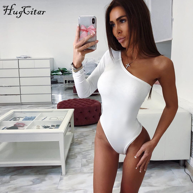 Hugcitar cotton one shoulder slope neckline bodysuit single long sleeve bodyocn bodysuit 2018 summer Women sexy body ...