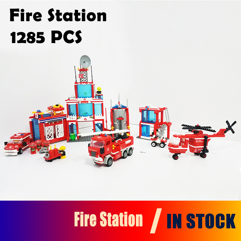 Extra Large fire station Model building kits 1285 Pcs Compatible with lego City 3D blocks Educational  toys hobbies for children цена