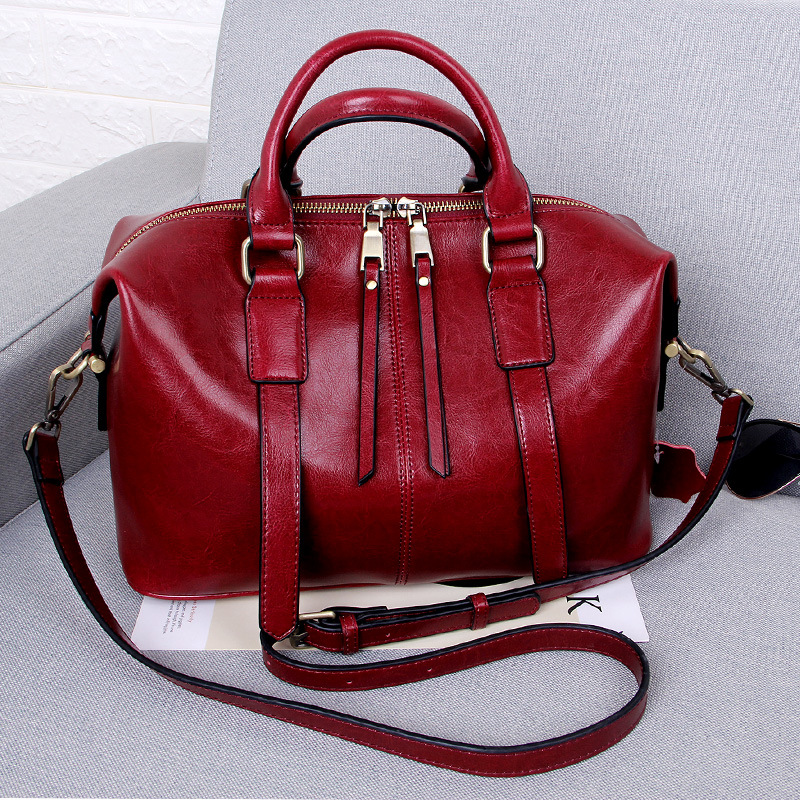 ZENCY 2019 Fashion Shopping Style Women s Tote Handbag Genuine Oil Wax Cow Leather Shoulder Messenger