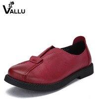2016 VALLU Handmade Women Shoes Genuine Leather Flat Heels Round Toes Platform Women Causual Shoes