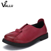 2016 VALLU Handmade Women Shoes Genuine Leather Flat Heels Round Toes Platform Women Causual Shoes