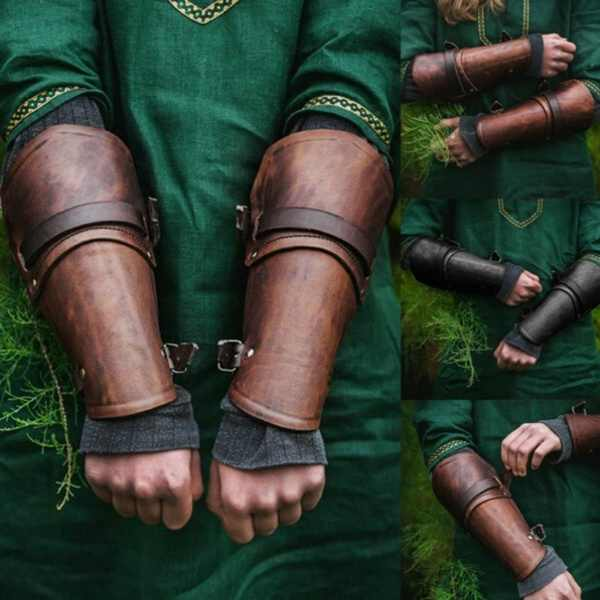 Outdoor Arm Defense Leather Gloves Cosplay Costume Leather Buckle Shoes Cover Handmade Pair of Leather Bracers Armor Medieval Ad