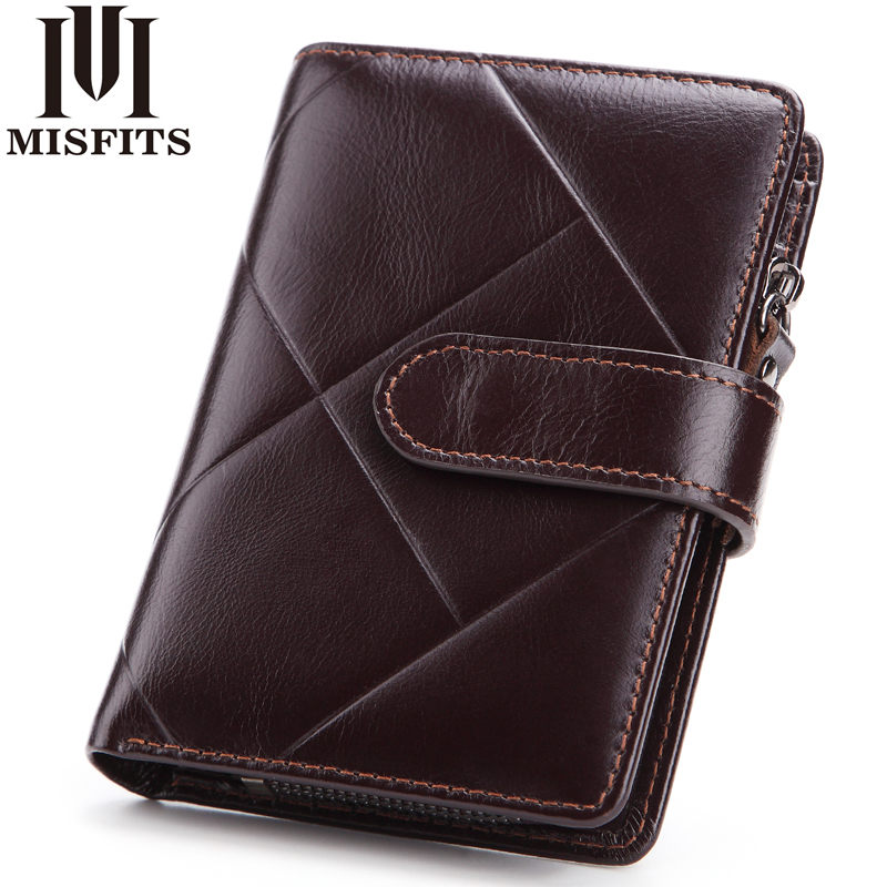 MISFITS 2018 New Arrival Genuine Leather Short Men Wallet Sandstone Wallets Fashion Male Purse With Coin Pocket Male Card Holder