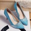 Китайский элегантный стиль сексуальный с острым носом туфли на высоком каблуке ну вечеринку алмаз украшение черный зеленый синий розовый высокая пятки женщины обувь