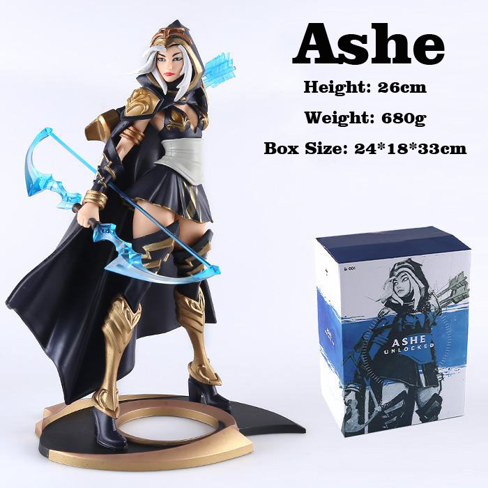 Free Shipping 10 Hot Game Ashe - the Frost Archer Boxed 25cm PVC Action Figure Collection Model Doll Toy Gift free shipping 14 hot game hero caitlyn the sheriff of piltover boxed 35cm pvc action figure collection model doll toy gift