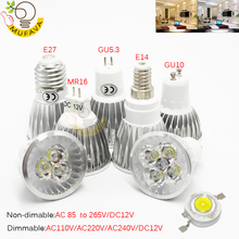 Lampe à LED ada 9W 12W 15W GU10 MR16 E27 E14 ampoule LED 85 265V projecteur Led à intensité réglable chaud/naturel/blanc froid lampe à LED 110V 220V