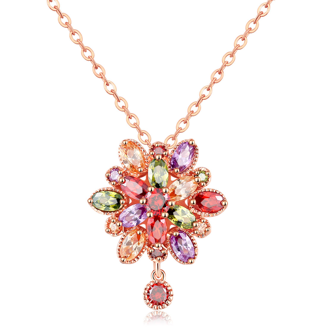 Modest Dropship 2019 New Fashion Boutique Necklace Color Zircon Rose Gold Necklace Dragon Girl Flower Pendant Female Models Party Gifts Limpid In Sight Necklaces & Pendants