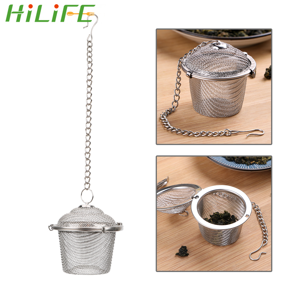 Hilife Reusable Stainless Steel Teko Mengunci Filter Teh Bumbu Bola Multifungsi Mesh Herbal Ball Saringan Teh Rempah-rempah title=
