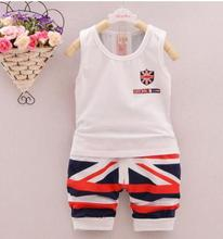 Children's Clothing 2019 Summer Boys Sleeveless Vest Children's Suit for 1 2 3 Years Old Vest+shorts Kids Two Pieces Set QHX008 цена