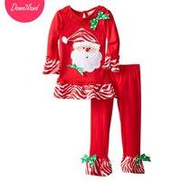 2017 ילדים חדשים domeiland הבוטיק לילדים תלבושות סטי בגדי סתיו חג מולד סנטה עבור בנות לפרוע את מכנסיים סטי צועד