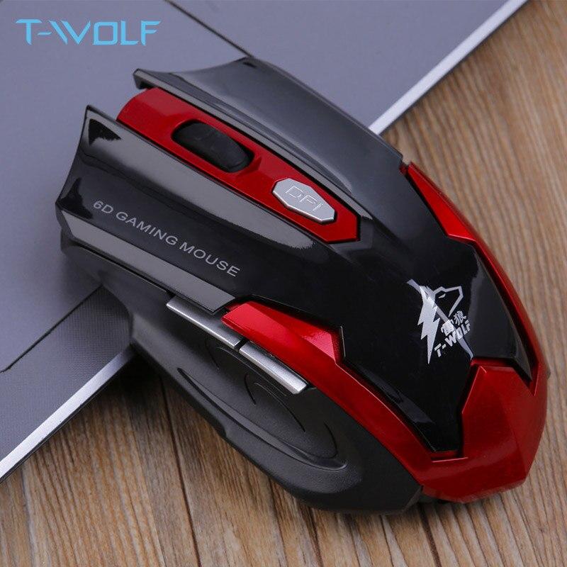 T-WOLF Q7 silencio ratón óptico inalámbrico jugador 2,4 GHz PC de juegos ratones 2400 DPI ajustable ratón ergonómico para el ordenador portátil/ la computadora de la PC