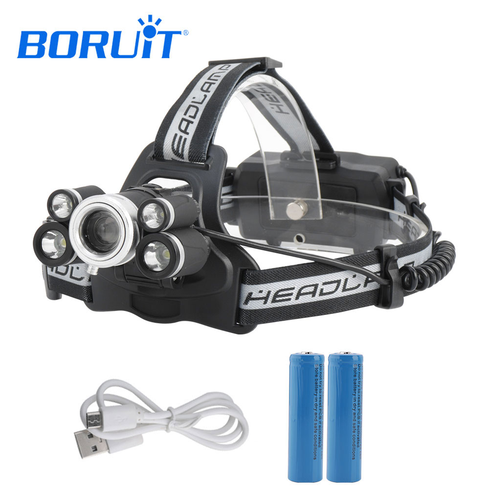 BORUIT XML T6 Headlight 6000 Lumens 4-mode Zoomable Headlamp USB Rechargeable Head Lamp With 2*18650 Battery For Fishing Hunting 5 t6 led headlight 30000 lumens 4 mode zoomable led headlamp rechargeable head lamp flashlight 2 18650 battery ac dc charger box