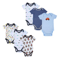 High Quality 6pieces Lot Newborn Baby Bodysuit Lovely Cute Pure Cotton Kid Bebe Overall Infant Spring