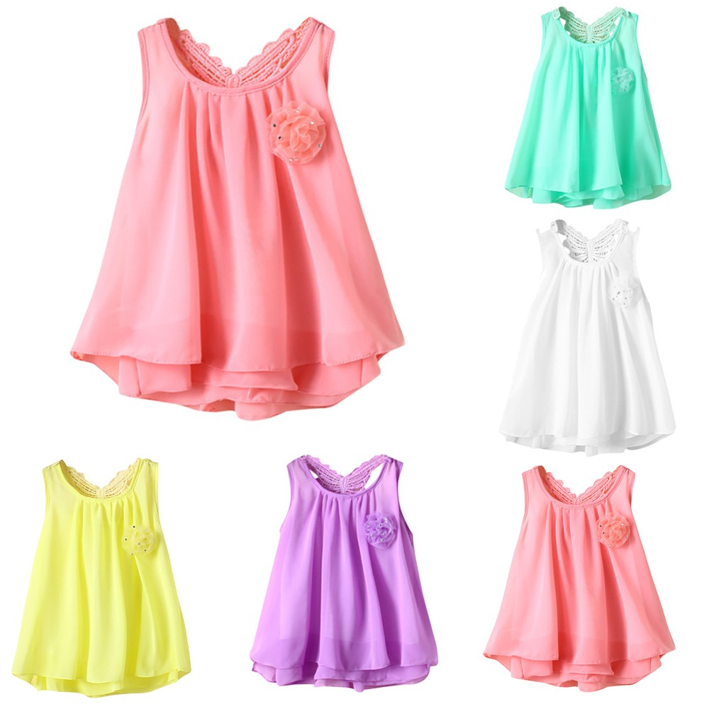 6-24 Month Children Newborn Toddler Baby Girls Solid Flower Butterfly Backless Casual Dress Clothes NO# dropship