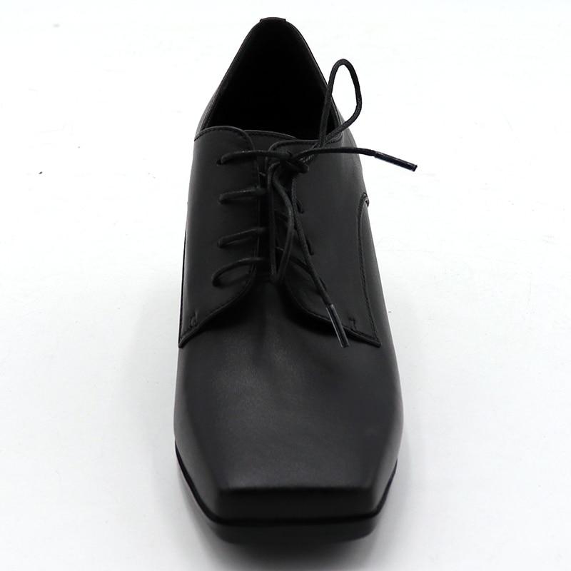 ENMAYER/весенние туфли на высоком каблуке Женская повседневная обувь на квадратном каблуке и платформе с квадратным носком однотонные женские туфли на шнуровке для свиданий - 2